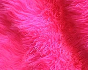 Solid Shag 60 Inch Faux Fur Neon Pink Fabric by the Yard, 1 yard