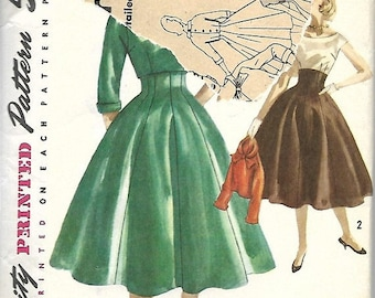 ON SALE 1950's Simplicity 1764 Misses Skirt, Caraco Jacket And Blouse Pattern, Size 16, Bust 36
