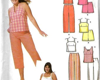 ON SALE Simplicity 5013 Jr. Plus Easy-To-Sew Cropped Pants , Shorts And Tops Pattern, 23/24+ - 31/32+, UNCUT