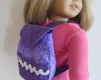 """Made To Fit Like American Girl Doll Clothes; Doll Backpacks;  18"""" Doll Backpacks; Stuffed Animal Backpack; Backpack; Doll Purse"""