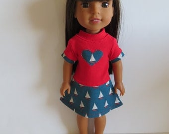 """Made To Fit Like 14.5"""" Wellie Wishers Doll Clothes: Wellie Wishers Doll Dress; Dress for AG Wellie Wishers Doll"""