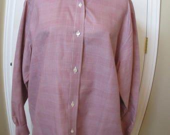 Vintage Burberrys Shirt, Button Up, Size 14 blouse/shirt womens vtg 90's Burberrys red & white checks