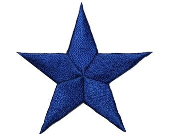 ID 3440 Blue Star Patch Symbol Space Night Sky Embroidered Iron On Applique
