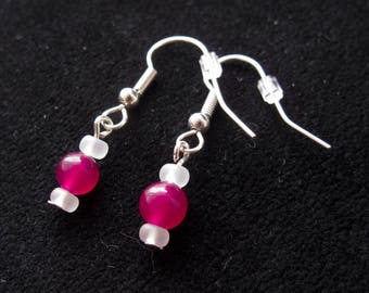 Pink & White dangle earrings