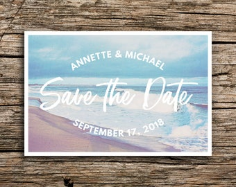Vintage Lake Save the Date Postcard Vermont Wedding Outdoor