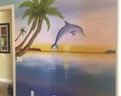 Dolphin Mural, Canvas Mur...