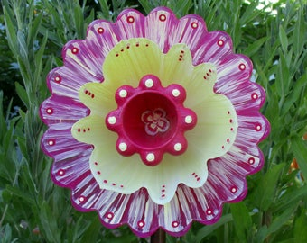 Glass Plate Flower - Re-Purposed Glass Flower Garden Art - Hand Painted in Magenta Pink & Yellow - Garden Stake - Yard Art - Garden Decor