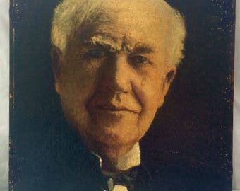 1939 Royere Original oil painting portrait.  Thomas Edison portrait from photograph.  Signed