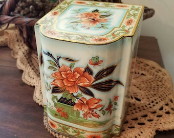 Vintage Tea Tin, Made in England, Flip top Tina with Colorful Floral design,