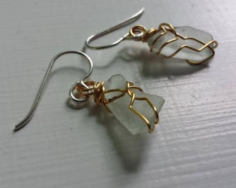 Wire Wrap Sea Glass Earrings