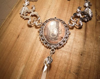 Silver cabochon necklace steampunk Photo ♠ ♠