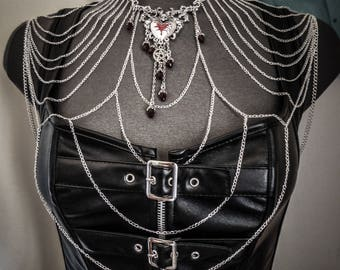 Belly dance silver armor necklace goth crucifix 666 Tabree 666
