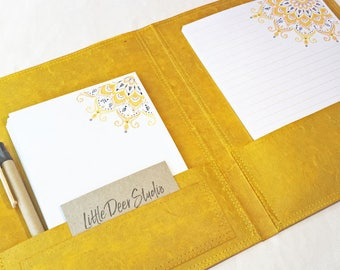 Letter Writing Set Yellow Mandala / yellow Stationery Set / Recycled Stationery / Bohemian Stationery Set / writing paper / notepaper set