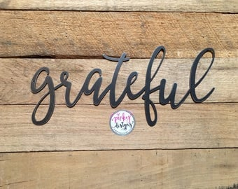 Grateful Metal Sign | 3 FT | Grateful Sign | Grateful Metal Word | Metal Grateful Word | Grateful