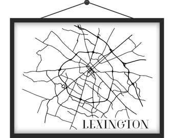 Lexington, KY Streets Map Print
