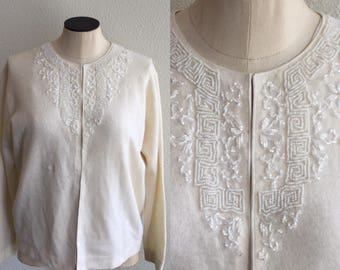 Greco Deco beaded Cardigan | Vintage white beaded wool Cardigan | 1950's