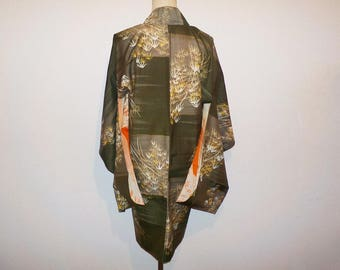 Antique haori - Bamboo tree, Olive green, Prewar