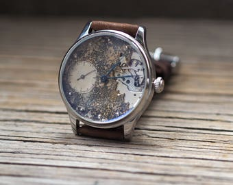 Molnija wrist watch, Converted vintage USSR Molnija pocket watch 1960's / steampunk watch / custom watch