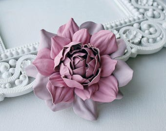 Pink/Soft Pink Leather Rose Flower Brooch/Hair Clip