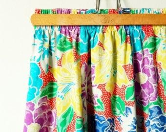 Vintage Tropical Hawaii Skirt / High Waisted Midi Skirt  / Summer Floral Skirt / Vintage Floral