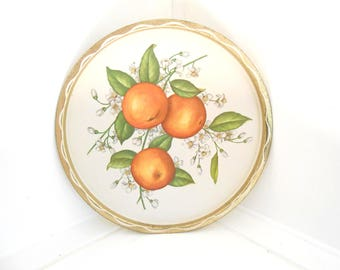 Oranges Florida Souvenir Tray Round Metal