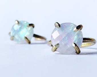 Opal ring / moonstone ring / fore opal ring / prong set opal ring