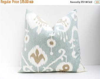15% Off Sale BLUE PILLOW,Throw Pillow Covers, Spa Blue Ikat pillow Seafoam Blue Green Light Blue ONE 16x16 Printed fabric both sides