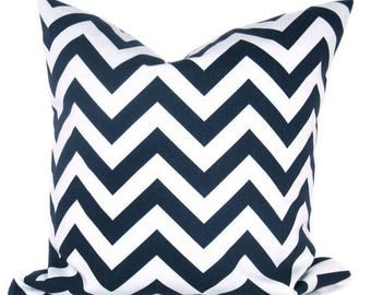15% Off Sale Navy Blue Pillow Chevron Pillow Dark Blue Pillow Cover Decorative Throw Pillow Cover 18x18 Pillow cover Printed Fabric both sid