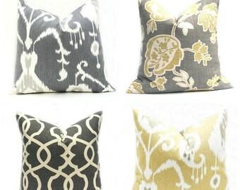 15% Off Sale Pillows Yellow Pillow Gray Pillow Yellow Pillow cover Gray pillow Cover Accent Pillow Ikat Pillow Throw pillow cover Toss pillo
