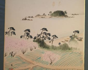 Japanese painting on shikishi, Rice fields with cherry blossoms.
