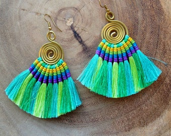 Aqua Ombre Tassel Fan Earrings Festival Tassel Earrings Blue Green Tassle Earings Gypsy Tassle Jewelry Trending Now Wholesale Jewelry