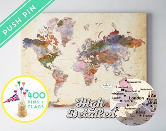 Custom World Map Push Pin CANVAS - Watercolor Terra Vintage -  Countries  - World Map with Pins, Gift Idea, 240 Pins