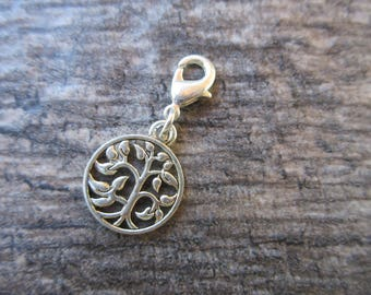 Tree of LIfe Clip-On Charm Tibetan Silver with lobster clasp--zipper pull, necklace and bracelet charm, planner charm, purse charm boho chic