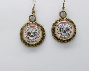 Sugar Skull Earrings - Sugar Skull Jewelry - Skull Earrings - Antique Bronze Earrings - Day Of The Dead - Skull Jewellery - Sugar Skull