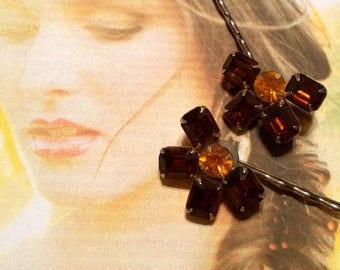 Topaz Amber Gold Bridal l Hair Pins Vintage 1950 1960 Rhinestone Decorative Hairpins Bobby Pins Fall Autumn Wedding