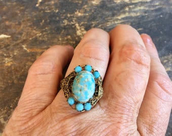 Turquoise Aqua Reign Bridal Ring 1930 1940 Czech Filigree Renaissance Wedding Vintage Bride Statement Cocktail Ring