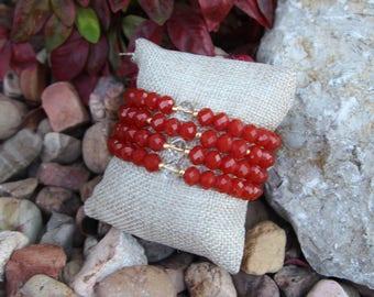 Orange-Red crystal beaded bracelets