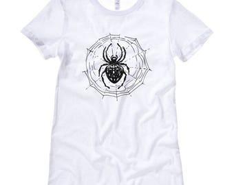 Black and White SPIDER WEB Ladies T-Shirt