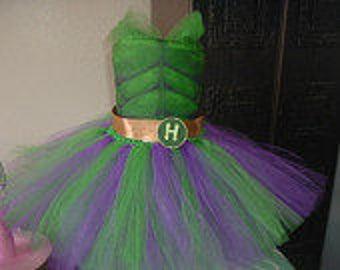 Green and Purple Hulk Costume Tutu Dress