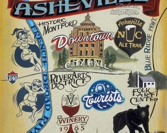 Asheville North Carolina retro Map  Print