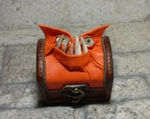 Treasure Chest Desk Organizer Monster Dice Trinket Ring Stamp Stash Box Small Storage Orange Leather 306