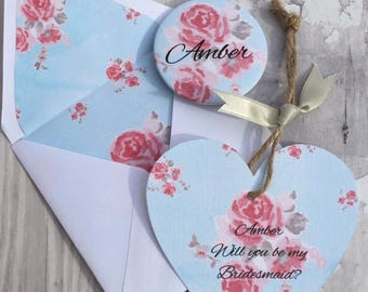 Will you be my Bridesmaid? Card with detachable Personalised Pocket Mirror