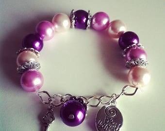 Charm bracelet purple violet and pale pink #69