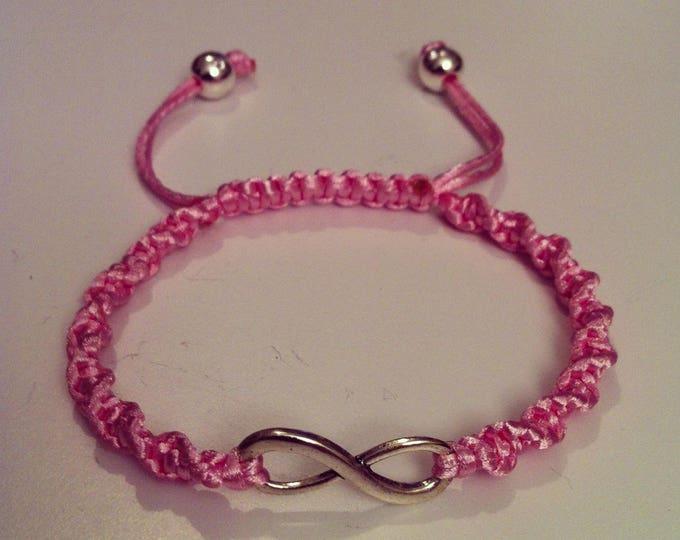 Adjustable spiral Shamballa bracelet pink pale infinity sign