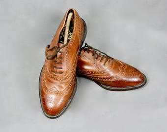 RICHARD YORKE England Vintage 1970s Real Leather Men's Oxford Brogues Lace Up Tie Shoes Size 9UK