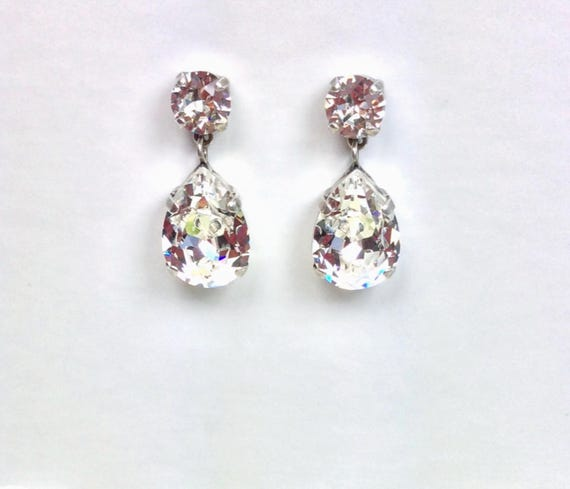 Swarovski Crystal 13x18MM Pear Drop Dead Earrings- Choose Your Favorite Color & Finish - DRAMATIC Sophistication! - FREE SHIPPING