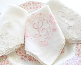 "HANDKERCHIEF, Vintage Script Monogram, Embroidered Ladies' Handkerchief, Letter ""L"", Bride to Be, Bridal Shower Gift Inspiration"