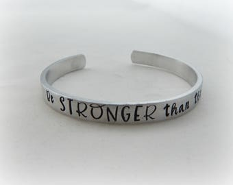 Be STRONGER than the storm - Hand Stamped Inspirational Bracelet - Encouragement - Motivational Jewelry - kg36369