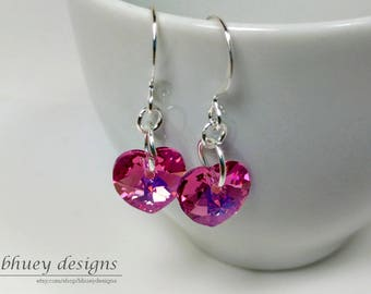 Swarovski Crystal Heart Earrings - Pink Heart Earrings - Sleeping Beauty