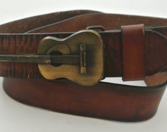 Vtg Guitar Buckle Belt distressed Leather OLD NAVY sz 32 brown